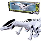 Babrit Robot Dinosaur with Roaring Sound Walking Red Flash Light for Kids Toys