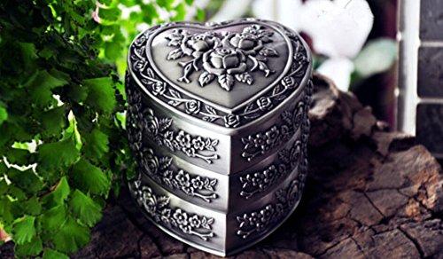 Dhjust vintage gioielli box astucci per gioielli casella anello gioielli organizzatore, 9 * 9 * 8.9cm