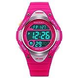 Rosa Digitale Armbanduhr, 5 ATM Wasserdichte LED Uhren, für Kinder 10+ Jahre Alt