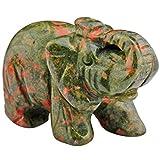 mookaitedecor Figura decorativa de elefante con cristales curativos y...