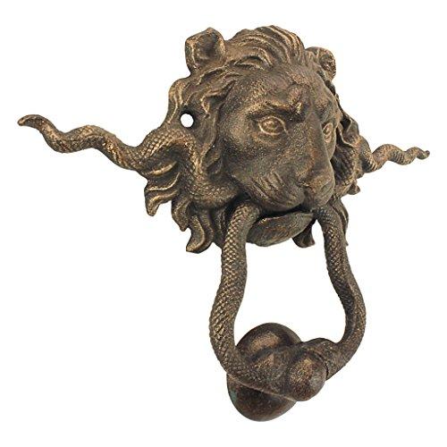 Design Toscano Löwe und die Schlange Gusseisen Gießerei Französisch Royalty Dekorative Türklopfhilfe, Gold