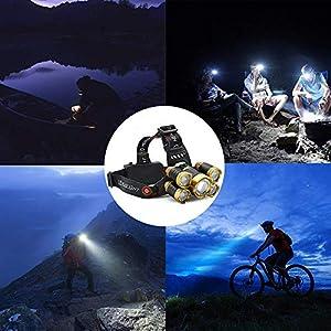 Cooolla Linterna Frontal LED Recargable. Linterna con sujección a la Cabeza con Iluminación de hasta 500 Metros para Camping,Caza, Pesca, Ciclismo y para Usarla al Aire Libre (Batería incluida)