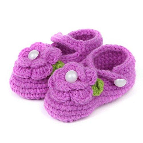 Krabbelschuhe MäDchen Rose Schuhe Kinder Crochet Handarbeit Stricken Socken Infant Baby Shoes Luckygirls (lila) (Infant Lila Bekleidung)