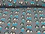 Sweatstoff Toto, Ökotex 100, Pinguine, Petrol (25cm x