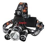 BORUIT RJ-3000Super brillante faro lm 3x CREE XML-L24modos 5000lumens batería LED Headlamp Headlight cómoda cabeza luz para senderismo, Camping; Bicicleta; Caza