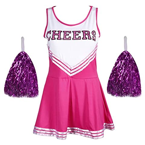 Robe Jupe Deguisement Costume Pom Pom Girl Cheerleaders Sport Rose L (38-40)