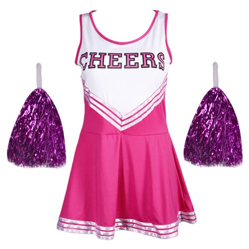 CWLN005a COLLEGE SPORTS Pink High School Cheerleader Ladies Girls Fancy Dress Costume Outfit Size L With POM POM