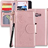 Galaxy A5 2017 H�lle Leder,Galaxy A5 2017 Handyh�lle,Slynmax Gepr�gtes Blumenm�dchen Lanyard Holster Handytasche Ultra D�nn Schutzh�lle Leder Rose Gold Muster Wallet Flip Case Cover Ledertasche Brieftasche  Slim Tasche PU Schutz Etui Schale Hardcase im Bookstyle mit Standfunktion Karteneinschub und Magnetverschlu� LederH�lle f�r Samsung Galaxy A5 2017 + 1x Schwarz Eingabestift Touchstift Stylus medium image