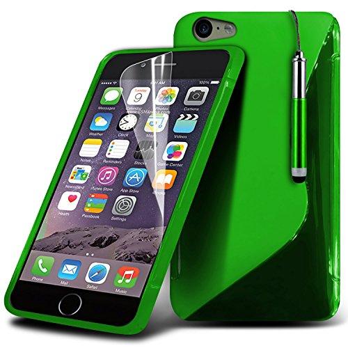 Apple Iphone 6 Plus 5.5 Inch Green High Quality Designed Premium-Linie Wellen-Gel-S-Kasten-Haut-Abdeckung mit LCD-Display Schutzfolie, Reinigungstuch und Mini-versenkbaren Stylus Pen von i-Tronixs -