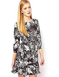 5fe794c57a Karen Millen Fluid Floral Print Bow Belted Dress Silk Black Multi