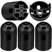 BESLIME Bakelite Lamp Holder - E27 Vintage Solid Bulb Socket,Screw Light Bulb Socket,E27 ES Screw,Black,4 Pack