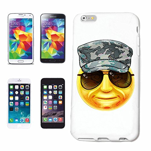 Handyhülle iPhone 7+ Plus SMILEY BEI MILITÄR MIT SONNENBRILLE SMILEYS SMILIES ANDROID IPHONE EMOTICONS IOS GRINSEGESICHT EMOTICON APP Hardcase Schutzhülle Handycover Smart Cover für Apple iPhone in W