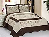 3pcs High Quality Fully Quilted Embroidery Quilts Bedspread Bed Coverlets Cover Set , Queen King (Taupe/Brown)