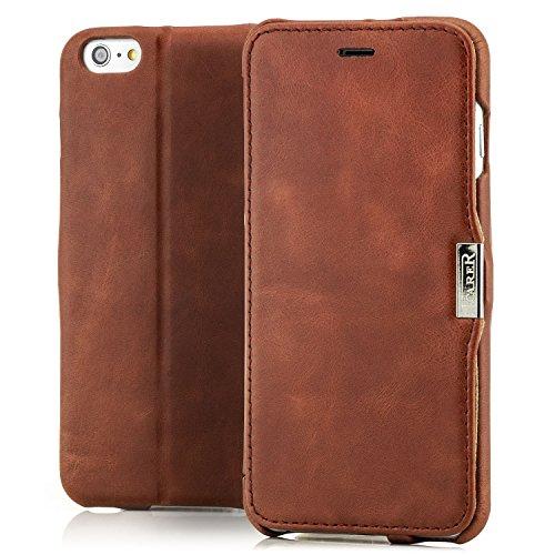 Luxus Tasche für Apple iPhone 6S Plus und iPhone 6 Plus (5.5 Zoll) / Case Außenseite aus Echt-Leder / Innenseite aus Textil / Schutz-Hülle seitlich aufklappbar / ultra-slim Cover / Hülle mit Standfunktion / Vintage Look / Farbe: Dunkel-Braun Iphone 6 Plus Bereich