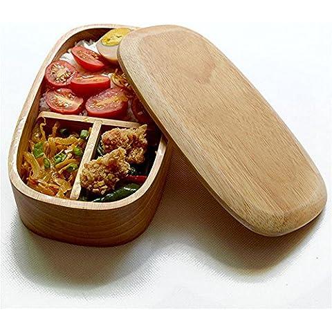 FOODJIA Caja de almuerzo de cubiertos roble natural almuerzo cajas cocina oval , 21*11*5cm ,