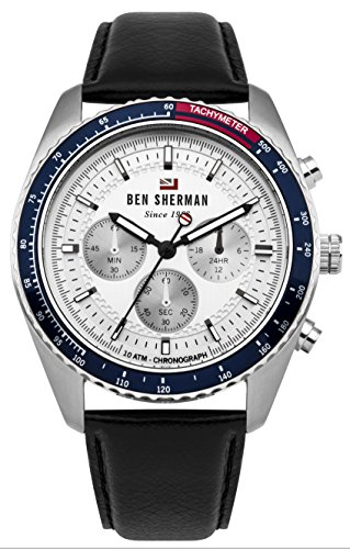 Ben Sherman Men's 'The Ronnie Chronograph' Quartz Stainless Steel and Leather Casual Watch, Color Black (Model: WBS108UB)