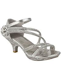 Nouveaux Enfants Filles Talon Bas Mariage Sandales Strass Demoiselle D'honneur Fête chaussures taille Royaume-Uni