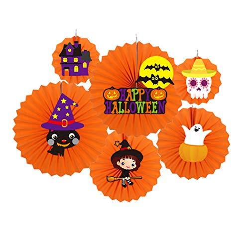 Joyibay Hängender PapierfäCher Kreativer DIY PapierfäCher PartyfäCher für Halloween Dekor (Tür Halloween Klassenzimmer)