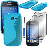 ebestStar - Compatible Coque Samsung Galaxy Trend Lite S7390 S7392 Etui Housse Silicone Gel TPU Souple Motif S-Line + Mini Stylet + 3 Films d'écran, Bleu [Appareil: 121.5 x 63.1 x 10.9mm, 4.0'']