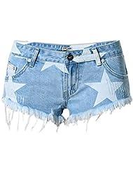 Wgwioo Beach Vacation Nightclub Femme Short Pantalon Imprimé Étoile Tassel Denim Shorts