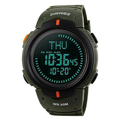 farsler multifunción de los hombres 50m impermeable brújula gran Dial reloj mundo reloj de tiempo el luz alarma Cronómetro deportes al aire libre hombres marea electrónico Digital reloj