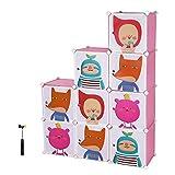 Songmics Regalsystem Kinderzimmerregal Kleiderschrank Garderobenschrank Spielzeugkiste Wäscheschrank Kapazität 450L Rosa 112 x 112 x 37 cm LPC33P