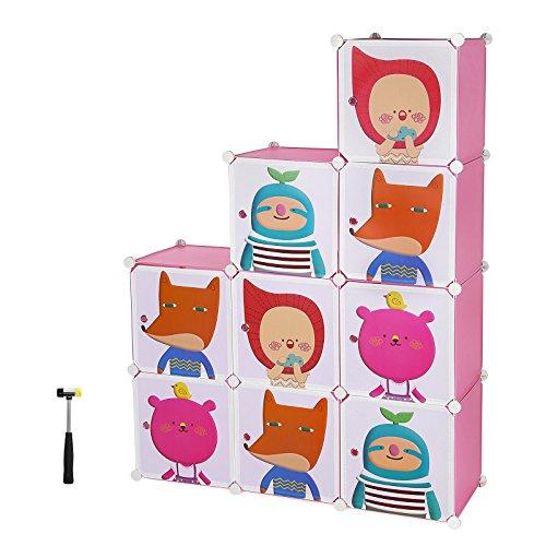 Songmics cartone armadio armadietto guardaroba scaffale scarpiera mobiletto da bagno rosa lpc33p