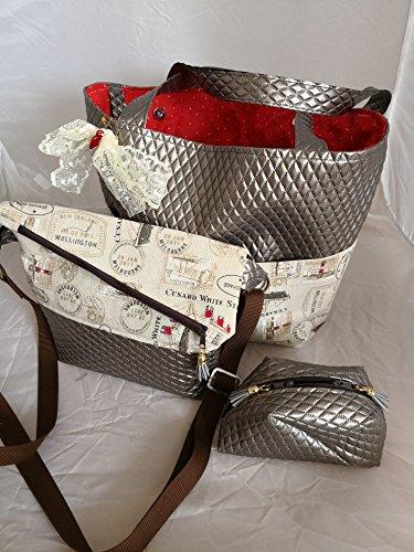 Bon Shopper (Ausgefallenes 2tlg. Set - Damen-Shopper Handtasche + Kosmetik-Tasche Goldbraun Bon Voyage)
