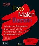 Foto-Malen-Basteln Bastelkalender schwarz groß 2019: Fotokalender zum Selbstgestalten. Do-it-yourself Kalender mit festem Fotokarton. Format: 30 x 35 cm