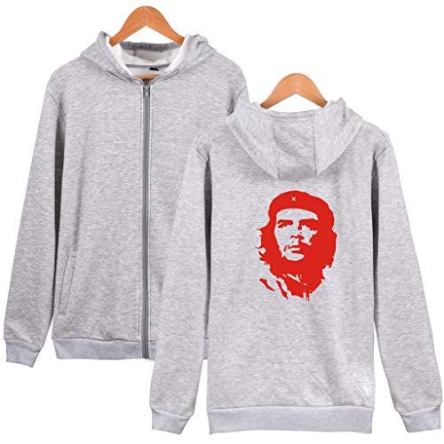 YANGTT Herbst Und Winter Hoodie Che Guevara-Kopf-Silhouette Druck Pullover Mit Hut Mit Reißverschluss Silhouette Pullover Hoodie