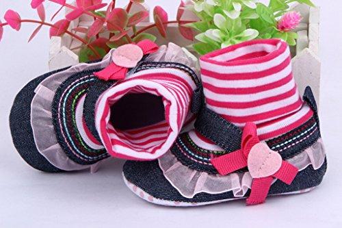 Bigood Baby Schuhsocke Krabbelschuhe Liebe Baby-Mädchen Lauflernschuhe Pink Lace 13 Pink Lace
