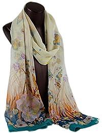 Prettystern HL766 - 180cm Mousseline de soie foulard de soie - Fleurs et papillons - 4 couleurs