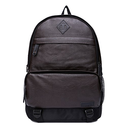 UNIVES Mens Vintage Leather Laptop Backpack grande capacità Shape Up a 16 '' computer portatile