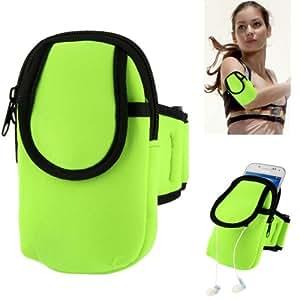 Rocina Nylon Sport Armband für Samsung Smartphones in grün mit extra Fach - ideal zum Joggen, Walken, Running