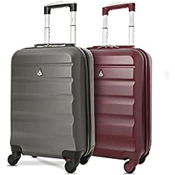 Aerolite ABS Bagage Cabine Bagage à Main Valise Rigide Légere à 4 roulettes, pour Ryanair, Air France et Plus, Set de 2, Vin Rouge + Gris Foncé