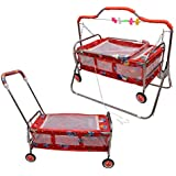 Cradle For Baby With Mosquito Net & Swing Cum Babies Crib Bassinet Jhula (RED)