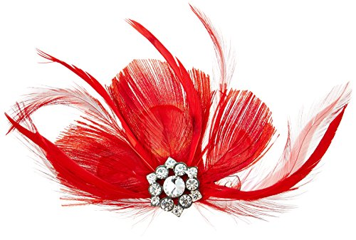 Lillian Rose Feather Hair Clip, 7-Inch, Red