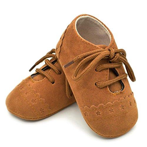 Reasoncool Bambino pattini del bambino Sneaker antiscivolo morbida Sole Scarpe stringate Marrone
