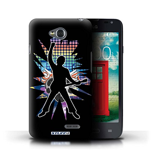 Kobalt® Imprimé Etui / Coque pour LG L65/D280 / Chanteur Noir conception / Série Rock Star Pose Windmill Noir