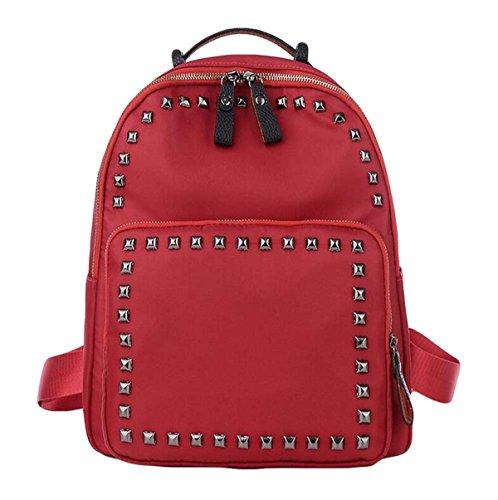 Damen Nylon Fashion Niet Taschen Schultertaschen College Wind Sport Rucksack Red