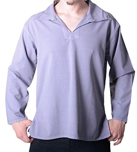 Alternatives Hippie Herren-Hemd - Überzieher Baumwolle, Freizeithemd Hanffarben