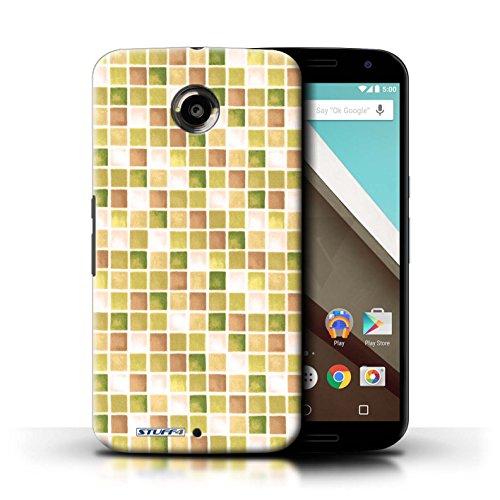 Kobalt® Imprimé Etui / Coque pour Motorola Nexus 6 / Bleu/Blanc conception / Série Carreau Bain Jaune/Marron