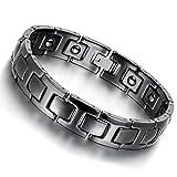 Cupimatch Bracelet Homme Magnetique Noir Manchette Cool en Céramique avec Boucle Déployante - Bracelet Santé pour Hommes - Marée Bijoux pour Adolescent(Sac Cadeau Gratuit)