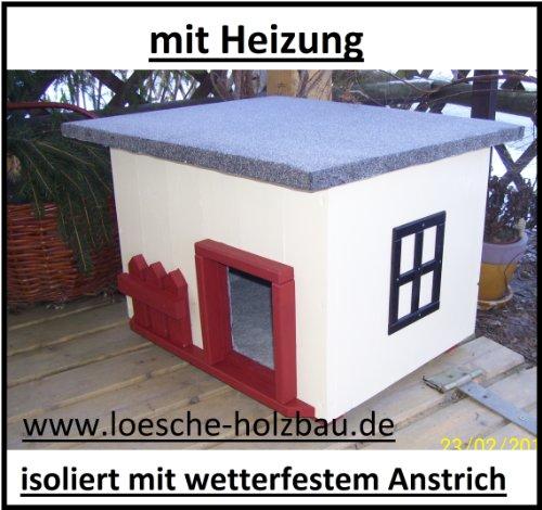 """Katzenhaus mit Heizung """"Landhaus"""" Katzenhütte Wurfkiste wetterfest isoliert beheizt"""
