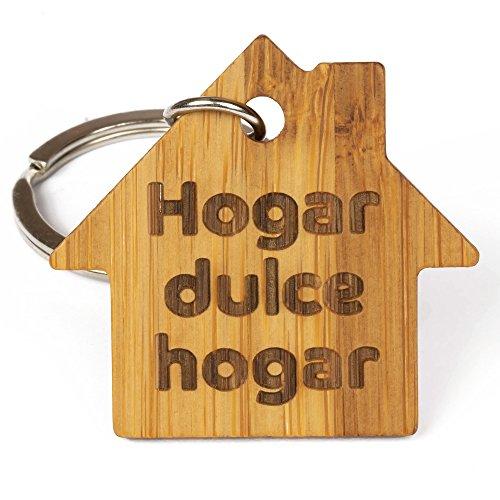 Llavero de Madera de Bambú Eco-Friendly Hogar, Dulce Hogar - Ideal como Regalo para Llaves Hogar, Llaves del Coche, Llaves de Casa