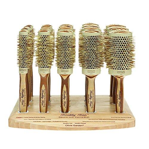 Olivia Garden Healthy Hair Présentoir de 19 Brosses Rondes Thermales en Bambou - Brosses Ecologiques en Bambou sur un Présentoir en Bambou