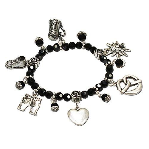Alpenflüstern Perlen-Trachten-Armband Trachtenzauber - Damen-Trachtenschmuck, elastische Trachten-Armkette mit Anhängern, Perlenarmband schwarz DAB041