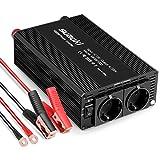 SUAOKI 1000W Spannungswandler Wechselrichter DC12V auf AC240V Power Inverter, Konverter mit 2 EU Steckdose für Laptop, Tablet, Smartphone und andere Geräte