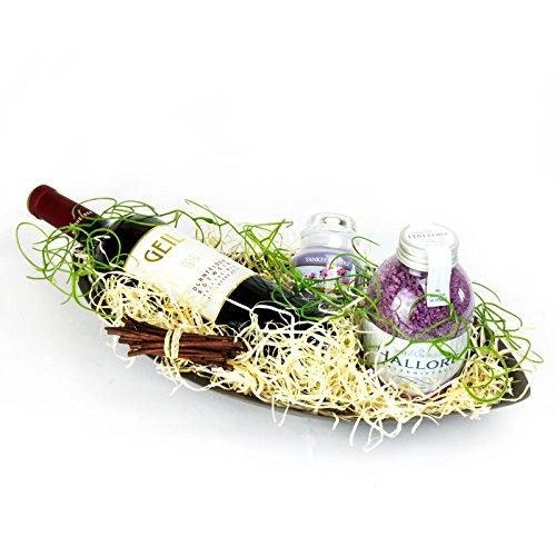 """Geschenk für Verliebte """"Zeit zu zweit"""" Geschenk zum Valentinstag Schale inkl. Rotwein, Kerze von Yankee Candle, Hallore Badesalz & Dekomaterial"""