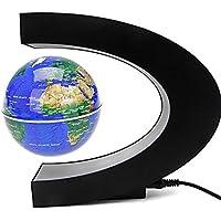 ConPush C-forma LED Globo Flotante Levitación magnética Terráqueos Globo Mapa del mundo (Azul)